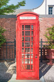 Vintage red telephone box. Vintage style image of typical red telephone box Stock Photo