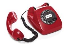 Vintage Red Telephone Stock Photo