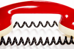 Red phone speaker with wire Royalty Free Stock Image