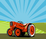 Vintage red tractor with framl Stock Images