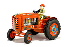 Vintage red tractor toy stock photo