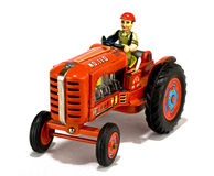Vintage red tractor toy stock image