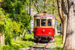 Vintage Red Tram in Sintra Portugal Royalty Free Stock Images