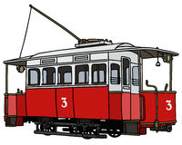 Vintage red tramway. Hand drawing of a vintage red tramway Stock Image