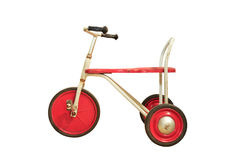 Vintage red tricycle isolated on white Royalty Free Stock Photography