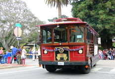 Vintage red trolley car, Monterey. Stock Image