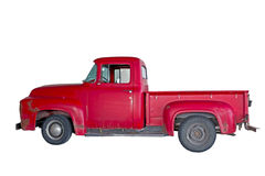 Vintage Red Truck With Clipping Path. A vintage red step-side truck isolated on white with a clipping path stock image