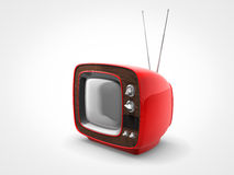 Vintage red TV in perspective view. Perspective view of a old vintage red television Stock Photography