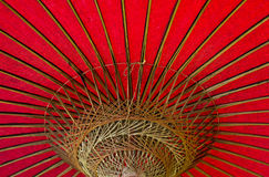Vintage Red Umbrella. Vintage Red Chinese umbrella bamboo waxed paper Royalty Free Stock Photo
