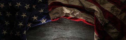 Vintage red, white, and blue American flag royalty free stock images