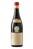 Vintage red wine bottle  with blank label. Stock Photo
