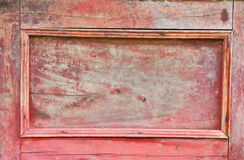 Vintage red wood sideboard door Royalty Free Stock Photo