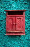 Vintage red wooden mailbox Stock Image