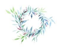 Vintage redondo del marco de la flor floral con verde Fotos de archivo libres de regalías
