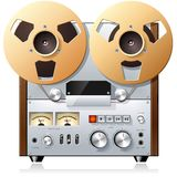 Vintage reel-to-reel tape recorder deck Royalty Free Stock Images