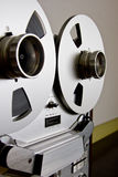 Vintage reel-to-reel tape recorder deck. With big reel with tape Stock Photos