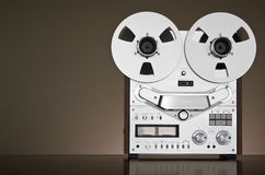 Vintage reel-to-reel tape recorder deck. With big reels Stock Photography