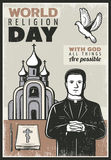 Vintage Religious Poster. With text priest church flying dove bible book and candle vector illustration Royalty Free Stock Images