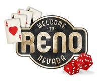 Vintage Reno Sign Logo com dados e cartões de jogo fotografia de stock royalty free