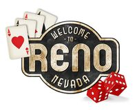 Vintage Reno Sign Logo with Dice and Playing Cards. Reno Nevada Welcome Street Sign Vintage Rustic Logo Art Metal Tin Old Antique Hot August Nights Royalty Free Stock Photography