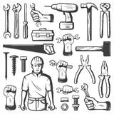 Vintage Repair Workshop Icon Set. Black  vintage repair workshop icon set with tools and worker on white background vector illustration Stock Photo