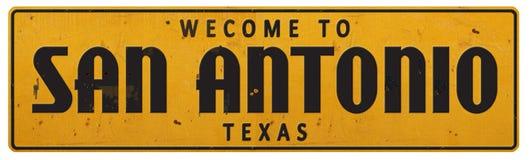 Vintage Rerto de San Antonio Texas Street Sign Grunge Rustic fotos de stock