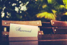 Vintage Reserved Restaurant Table Stock Image