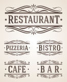 Vintage Restaurant And Cafe Signs Royalty Free Stock Photography