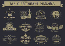Vintage restaurant and bar badges and insignias. Vintage badges and insignias for example restaurant, bar, cafeteria and brewery. EPS10, text outlined Royalty Free Stock Images