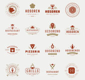 Vintage Restaurant Logos Design Templates Set. Vector design elements Royalty Free Stock Image