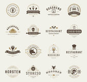 Vintage Restaurant Logos Design Templates Set Royalty Free Stock Image