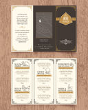 Vintage Restaurant menu design pamphlet template. Vintage Restaurant menu design pamphlet vector template in A4 size Tri fold Royalty Free Stock Photo