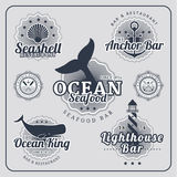 Vintage restaurant nautical labels vector set Royalty Free Stock Image