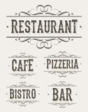 Vintage Restaurant And Pizzeria Banners. Illustration of a set of vintage restaurant, bistro, bar, cafe and pizzeria banners, with retro ornaments Royalty Free Stock Photo
