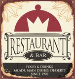 Vintage restaurant sign template. Retro poster design for French cuisine. Vector old fashioned layout with plate and crown in negative space. Diner banner on Royalty Free Stock Photo