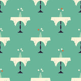 Vintage Restaurant Table with Vase with Flowers Seamless Pattern Stock Images