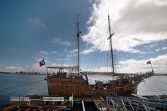 Vintage restored Caravel ship anchored. In the docks of Portimao city, Portugal Stock Photo
