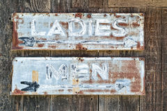 Vintage restroom signs. Vintage ladies room and mens room signs royalty free stock image