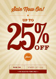 Vintage Retail Design. A vintage poster design for a 25% off sale Stock Images