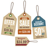 Vintage Retail Labels. A set of vintage retail labels for offers and sales Stock Photo