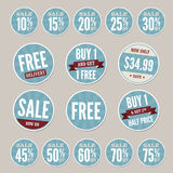 Vintage Retail Stickers. A set of vintage retail stickers with a retro blue theme Stock Image