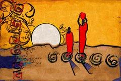 Vintage retro étnico motivo africano stock de ilustración