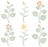 Vintage retro abstract flowers, grunge design elements Royalty Free Stock Photo