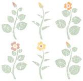 Vintage retro abstract flowers, grunge design elements. Set of six vintage retro abstract flowers, grunge design elements, vector illustration Stock Illustration