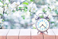 Vintage retro alarm clock in the springtime. Vintage alarm clock on wooden table or bench in the spring season background. Return to spring or summer time. Fall Royalty Free Stock Photo