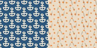 Vintage retro anchor badge vector seamless pattern background sea ocean anchorage symbol illustration.  Royalty Free Stock Photography