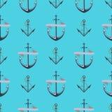 Vintage retro anchor badge vector seamless pattern sea ocean graphic nautical anchorage symbol illustration. Vintage retro anchor seamless pattern. Vector sign Stock Images