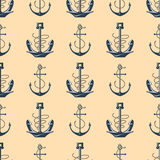 Vintage retro anchor badge vector seamless pattern sea ocean graphic nautical anchorage symbol illustration. Vintage retro anchor seamless pattern. Vector sign Royalty Free Stock Photos