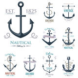 Vintage retro anchor badge vector sign sea ocean graphic element nautical anchorage symbol illustration Stock Images