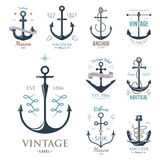 Vintage retro anchor badge vector sign sea ocean graphic element nautical anchorage symbol illustration Stock Image